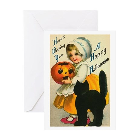 Girl and Kitty Greeting Card