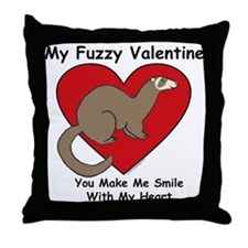 Fuzzy Valentine - Ferret - Throw Pillow