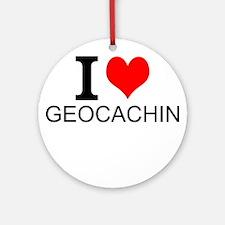 I Love Geocaching Round Ornament