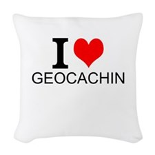 I Love Geocaching Woven Throw Pillow