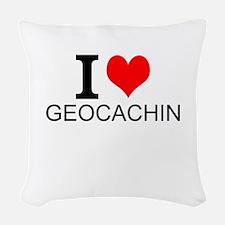 I Love Geocaching Woven Throw Pillow