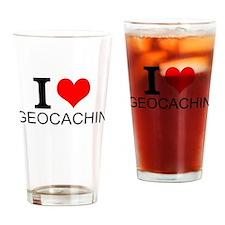 I Love Geocaching Drinking Glass
