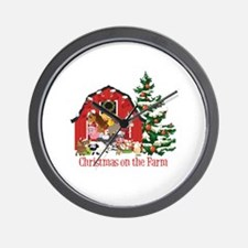Barnyard Animals Christmas on the Farm  Wall Clock