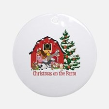 Barnyard Animals Christmas on the F Round Ornament