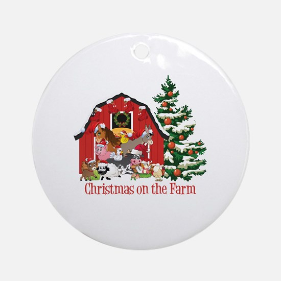 Barnyard Animals Christmas on the F Round Ornament
