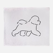 Bichon pen and ink Throw Blanket