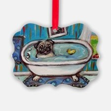 sweet pug bathtime Ornament
