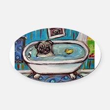 sweet pug bathtime Oval Car Magnet