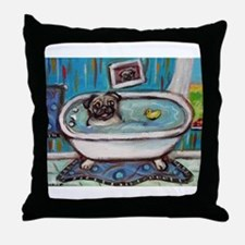 sweet pug bathtime Throw Pillow