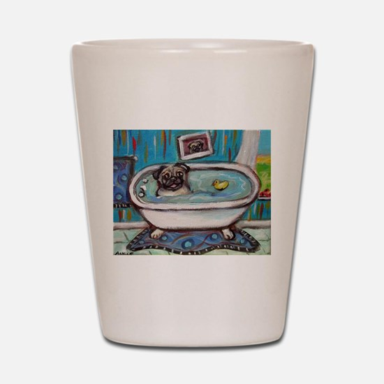 sweet pug bathtime Shot Glass