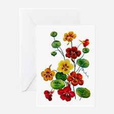 Embroidered Nasturtions Greeting Card