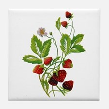 Embroidered Wild Strawberries Tile Coaster