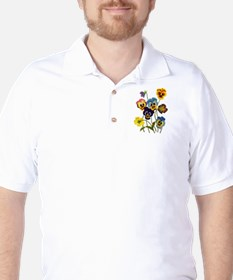 Colorful Embroidered Pansies T-Shirt