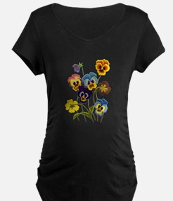 Colorful Embroidered Pansie T-Shirt