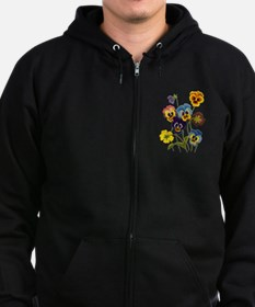 Colorful Embroidered Pansies Zip Hoody