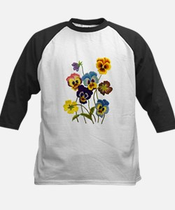Colorful Embroidered Pansies Tee