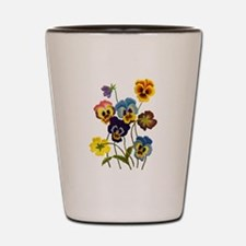 Colorful Embroidered Pansies Shot Glass