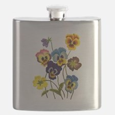 Colorful Embroidered Pansies Flask
