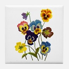 Colorful Embroidered Pansies Tile Coaster