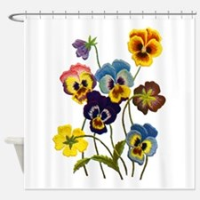 Colorful Embroidered Pansies Shower Curtain