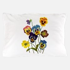 Colorful Embroidered Pansies Pillow Case