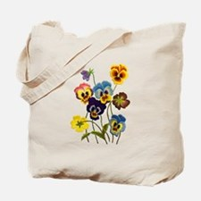 Colorful Embroidered Pansies Tote Bag