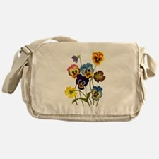 Colorful Embroidered Pansies Messenger Bag