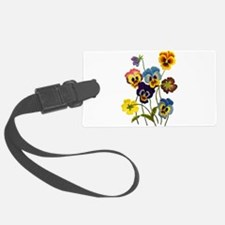 Colorful Embroidered Pansies Luggage Tag