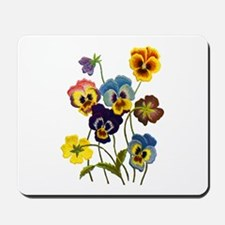 Colorful Embroidered Pansies Mousepad