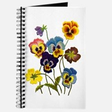 Colorful Embroidered Pansies Journal