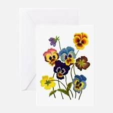 Colorful Embroidered Pansies Greeting Card
