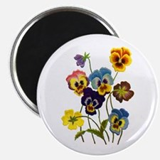 Colorful Embroidered Pansies Magnet