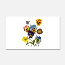 Colorful Embroidered Pansies Car Magnet 20 x 12