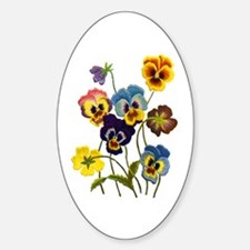 Colorful Embroidered Pansies Decal
