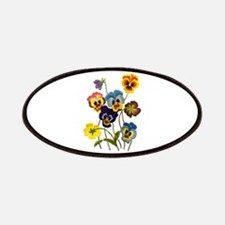 Colorful Embroidered Pansies Patch