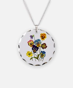 Colorful Embroidered Pansies Necklace