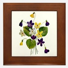 Embroidered Purple Violets Framed Tile
