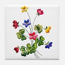 Colorful Embroidered Woodsorrel Tile Coaster