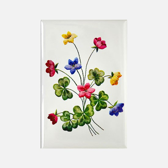 Colorful Embroidered Woodsorrel Rectangle Magnet