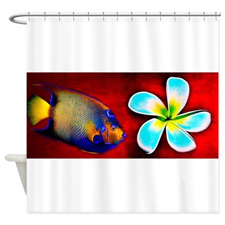 Tropical fish flower red background shower curtain by for Tropical fish shower curtain