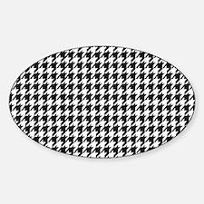 Black & White houndstooth backgroun Sticker (Oval)