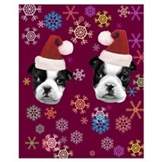 Christmas Boston Terrier Dog Framed Print