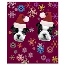 Christmas Boston Terrier Dog Poster