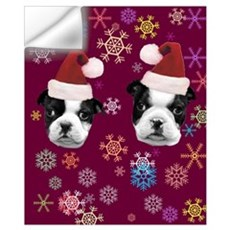 Christmas Boston Terrier Dog Wall Decal