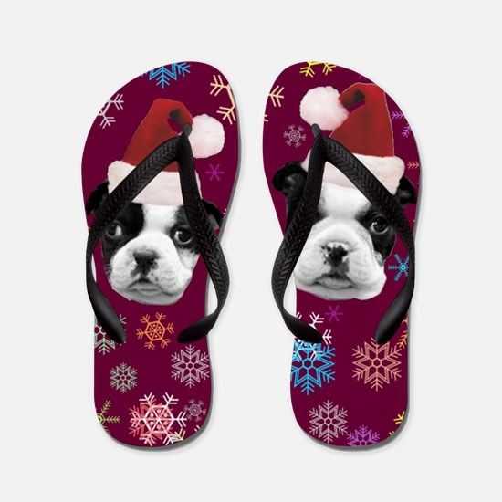 Christmas Boston Terrier Dog Flip Flops