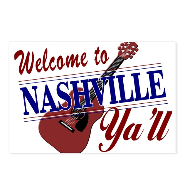 Euro License Plate >> Welcome To Nashville Postcards (package Of 8) by nashville_tshirt_scene