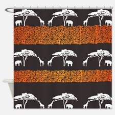 Elephant and Giraffe Sunset Shower Curtain