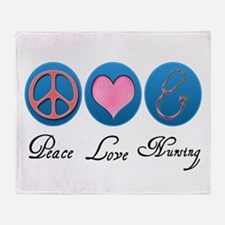 Peace, Love, Nursing Throw Blanket