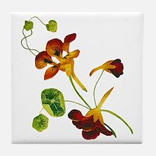 Embroidered Nasturtiums Tile Coaster