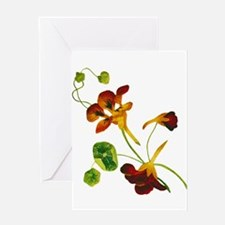 Embroidered Nasturtiums Greeting Card